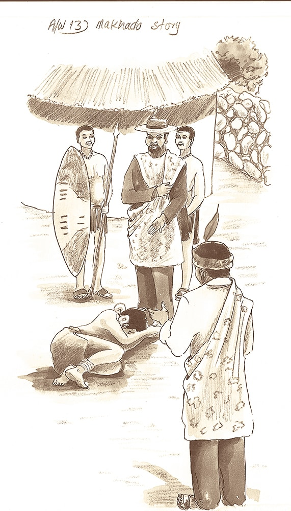 Raluthaga presented his daughter, Dombo, to Makhado as a future wife.